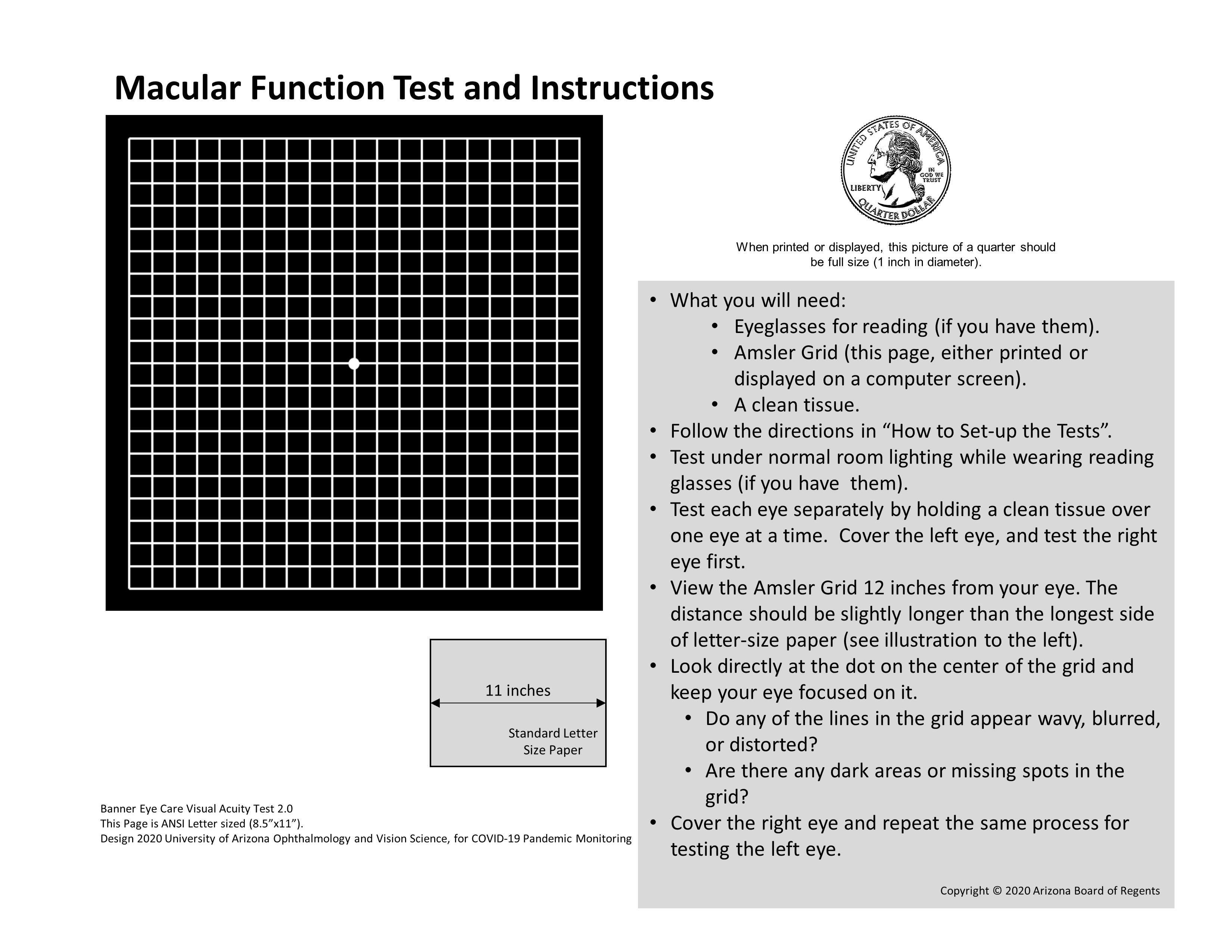 Macular Function Chart